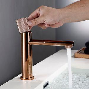 Rose Gold bacia banheiro torneira 100% Brass único Cabo Frio e água quente Mixer escovado ouro Rose Tap