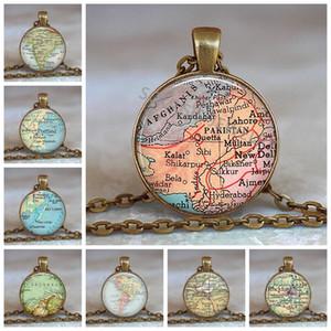 Neue Angekommene Glaskuppel Halskette Weltkarte Anhänger Bronze Kette Schmuck Pakistan Vintage Karte Handgemachtes Glas Cabochon Halskette