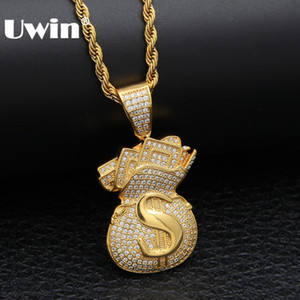 Uwin US Money Bag Necklace Pendant Full Bling Cubic Zirconia Iced Out Gold Chains Silver Gold Color Hiphop Jewelry For Men