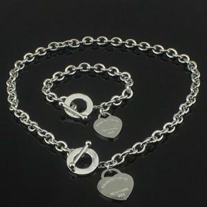 venda quente presente de Natal aniversário de 925 colar de prata do amor + Bracelet Set Wedding Declaração Jóias Coração Colares do Bangle Sets 2 em 1