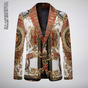 VAGUELETTE Luxury GoldenBlack Stage Jacket For Men цветочный принт синий блейзер для мужчин Slim Fit Party Wedding Jacket пальто T200324