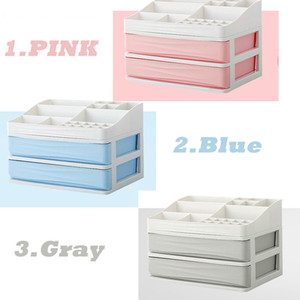 New High Quality Plastic Jewelry Storage Box Makeup Organizer Drawers Cosmetic Skin Care Display Desktop Sundries Container Set