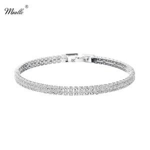 Miallo Newest semplice cristallo austriaco donne maglia link braccialetti moda flessibile sottile sposa sposa bridesmaids bracciali