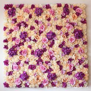 Großhandel Hochzeit Hintergrund 3D SiLK-Blumen-Wand Simulierte Blumenladen Fensterdekoration grüne pflanzende Wand Rose Hydrangea-Partei-Dekoration