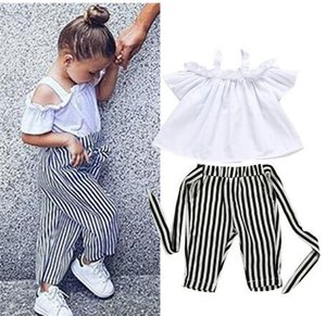 Childrens girl clothes 2PCS Toddler Kids Baby Girl Off Shoulder Tops Stripe Pants Outfits Sunsuit girls clothes Set 2-5T