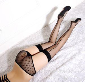Sexo medias de señora de súper delgadas calcetines hasta la rodilla antideslizantes línea vertical de las medias atractivas al por mayor