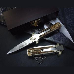 Hubertus Solincen 6 inç 6inch D2 bıçak HRC61 klasik Boynuz kolu tek eylem cebi ITA bıçak autotf bıçak kamp hediye bıçaklar