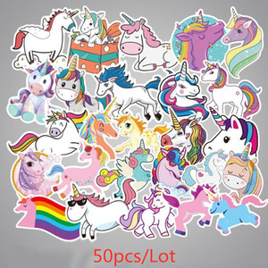 INS 50 pcs / set Juego unicornio pintada etiqueta de equipaje de la personalidad de bricolaje pegatinas de dibujos animados de PVC de pared pegatinas accesorios bolsa de juguetes para niños de regalo