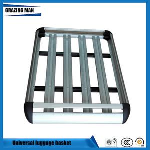 Marco de la azotea del coche de aluminio barras de techo universal marco de la cesta portaobjetos Doble capa de viaje 127 * 90 cm