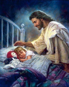 a049# Nathan Greene I AM WITH YOU ALWAYS Jesus by girl's bed Home Decor HD Print Oil Painting On Canvas Wall Art Pictures 01