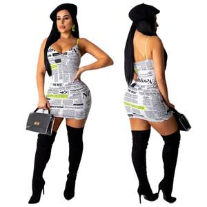 Yeni Seksi V Boyun Kadın Bodycon Mini Elbiseler Kolsuz Gazete Baskı Clubwear Elbise