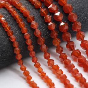 Вырезать граненые натуральный красный агат бусины 6/8/10 мм круглые свободные секции агат бусины для изготовления ювелирных изделий DIY прядь 15 ''