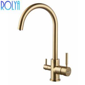 Rolya Ronda moderna in ottone massiccio Matte Black / Chrome / spazzolato oro Tri flusso rubinetto della cucina Lavello Miscelatore 3 vie d'acqua Filtro Tap
