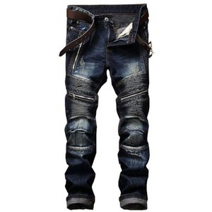 Mens Designer Jeans True Denim Black Distressed Ripped Pants Fashion Skinny Hole Italy Brand Bike Motorcycle Rock Revival Men Hip Hop Jeans
