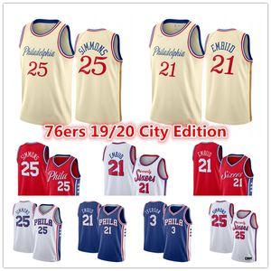 Joel 21 Embiid Ben 25 Simmons Jersey Al Horford Allen Iverson 3 Philadelphia76ersSixers Stadt Creme Ausgabe Basketball Jerseys