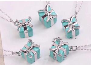 fashion luxury designer jewelry women Necklace 925 Sterling Silver clavicle chain Mini Enamel Box Pendant luxury gift 2019 hot4115#