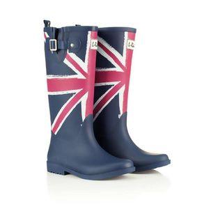 Hot Sale-Rain Boots Printing Flag Classic Ladies Rubber MIid-Calf Heels Waterproof Buckle Rainboots 2016 New Fashion Design Tall Blue