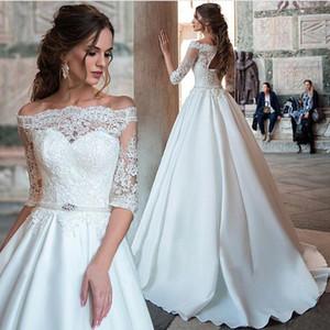 2020 кружевной атлас свадебные платья с плеча половина рукава свадебные платья Vestido de Novia A Plus Plus Размер свадебных платьев
