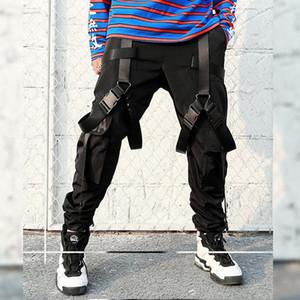 Cintas de impresión de letras Multi-bolsillo Negro Pantalones de carga para los hombres táctico Joggers Sweatpant Hip Hop Lápiz Pantalones Track Streetwear
