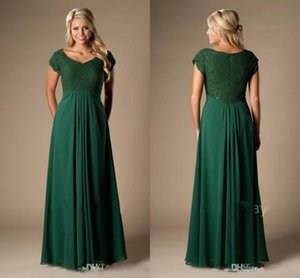 Vintage Dark Green Bridesmaid Dresses Long Short Sleeves Lace Chiffon Modest Cheap Wedding Party Dresses A-line Maids of Honor Dress