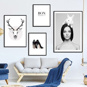 Nordic White Rabbit Girl Deer Head Wall Art Poster and Print Canvas Painting Decorative Picture For Living Room Home Deco