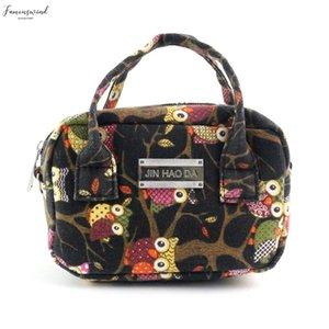 Women Fashion Handbag Owl Pattern Shoulder Bag Large Tote Ladies Purse Canvas Leather Zipper Crossbody Tote Bags Women 1121