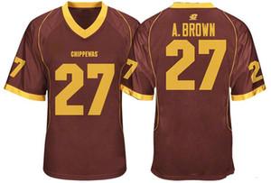 رجل سنترال ميشيغان chippewas انطونيو براون كلية كرة القدم الفانيلة رخيصة الأحمر 27 انطونيو جامعة براون قمصان كرة القدم M-XXXL