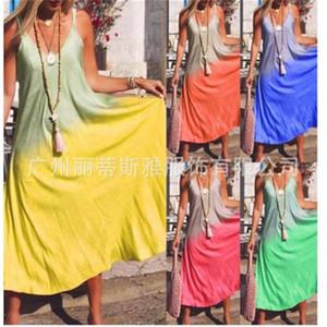 Fashion For Holiday Spring Break Sundress Long Skirt Dress Women Designer Gradient Color Sling Dress Maxi Beach Dress