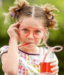 Eğlence yumuşak plastik saman komik gözlük esnek içme saman oyuncak parti şaka tüp araçları çocuklar bebek doğum günü oyuncakları