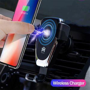 Новый автомобиль Беспроводное зарядное устройство автоматической силы тяжести для iPhone 11 Pro XS Max XR Samsung S10 Intelligent Vent Mount быстрой зарядки все ци сотовый телефон владельца