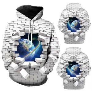 Hombres sudadera con capucha de impresión en 3D con capucha chaqueta de la capa del suéter Pullover Gráfico Tops