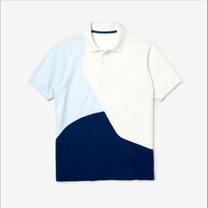2019 Yeni PL23375 Yaz Erkek Marka Sıcak Satış Polos Patchwork gömlek Pamuklu erkek P Kısa kollu Polo Yaka Gömlek Kazak Ücretsiz nakliye
