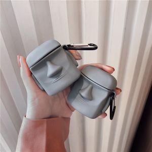Moai Pierre Figure Forme Gris Couleur Oreillette Bluetooth sans fil pour Apple AirPod 1 2 Pro cas de charge