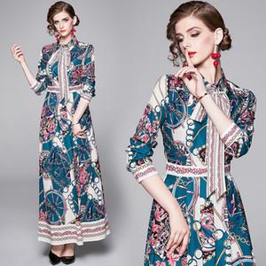 2020 Весна Лето Осень Осень Runway Урожай Цветочные печати с длинным рукавом Bow Tie шеи женщин Ladies вскользь конструктора платья макси