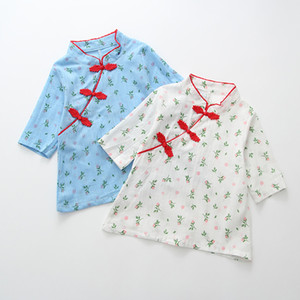 Toddler Baby Kids Girls Rose Cotton Blend Floral Print Cheongsam Tops Casual Fashion Clothes