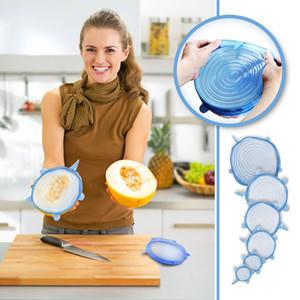 6pcs / set Silikon Lids Durable wiederverwendbare Lebensmittel speichern Abdeckung Wärmebeständiges Fits aller Größen und Formen von Container Organizer versteckte Speicher