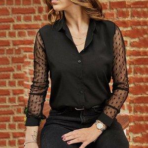 Gaze Shirts See Through manches longues pour femmes Blouses solides Lapel Neck Mode Hauts pour femmes Printemps Noir Femmes