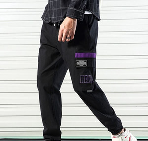 2019 New Mens High Street Style Sweatpants Ankle banded ninth Multi-pocket Fashionable Japanese Stylelish Mens Pants