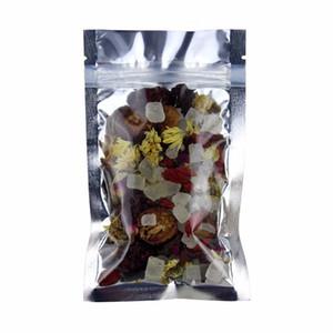 12 * 20cm 100pcs richiudibile con cerniera sacchetto del pacchetto di blocco traslucido chiara e argento su a prova di umidità sacchetto del pacchetto di cibo sacchetto di immagazzinaggio mylar frontale