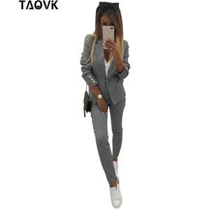 TAOVK Şık Kadın Küçük Kareli Bussiness Pant tek tuşla 2 Cepler Blazer Çizgili üst ve pantolon iki Piece Set Takımları Takımları