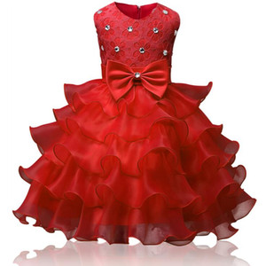 Girls Pageant Dresses Little for Girls Gowns 2019 Toddler Bambini Ball Gown Tè-lunghezza festa di compleanno in magazzino Abito da ragazza fiore per matrimoni