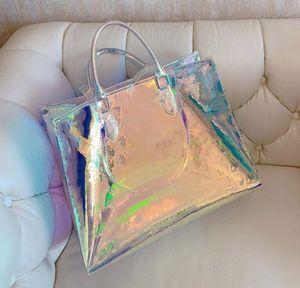 Deslumbramiento del arco iris Hombres Mujeres Claro señoras embrague láser flash Manguitos de PVC transparente bolsos bolsa de lona brillante del color del bolso