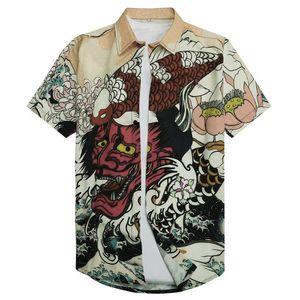 3D 몬스터 셔츠 일본어 신화 악마 하라주쿠 캐주얼 짧은 소매 셔츠 남성 여름 바다 커튼 남자 유럽 연합 (EU) 크기 탑