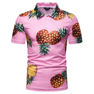 Hawaiian Polo Shirts Pour Hommes Summer Polos Ananas Imprimer Tops À Manches Courtes Tees New Fahsion M L XL XXL