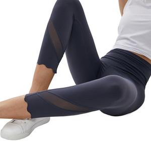 Les pantalons de yoga femmes pantalons fitness sport de haute taille chambre serré extensible leggings dames recadrée concepteur de fitness pantalon capri travail L-011