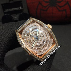 Beste Ausgabe MEN ES COLLECTION 8880 CC AT ETA2824 Diamant rundes Zifferblatt Automatik Herren-Uhr-Quadrat-Diamant Roségold Lederband Uhren