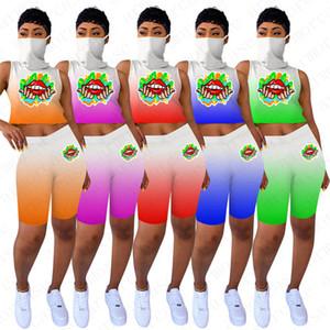 Designer Women Summer Outfits Lips Tracksuits Sleeveless Vest With Face Mask Biker Shorts Gradient Color Sports Set Jogging Clothes D52801