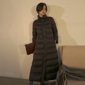 Designer women's winter gao-end white goose jacket coat down jacket down collar over-knee long coat women