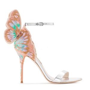 Hot Sale-Print-Stickerei Schmetterlingsflügel Sandalen Designer Marke Sophia Webster Damen Abschlussball-Partei-Schuhe