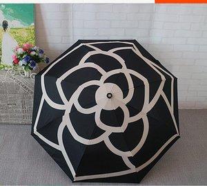 Patrón de lujo clásico Camellia Flower Logo Umbrella para mujeres 3 veces lluvia paraguas con caja de regalo y bolsa